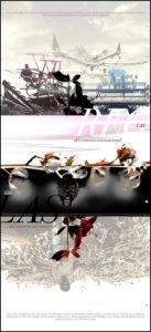 carteles exposicón en cantabria sobre la pobreza. el comercio internacional