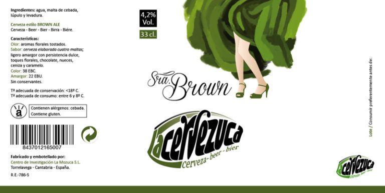 Diseño de etiqueta para la cerveza artesanal estilo Brown Ale de La Cervezuca de cantabria.