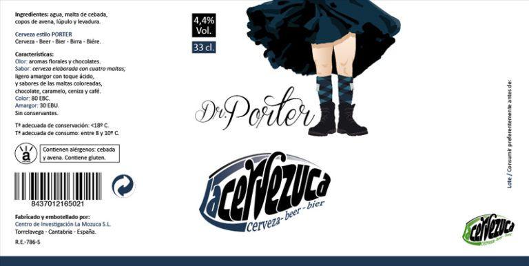 Diseño de etiqueta para La Cervezuca en Cantabria, modelo estilo Porter. Una empresa de cerveza artesanal.