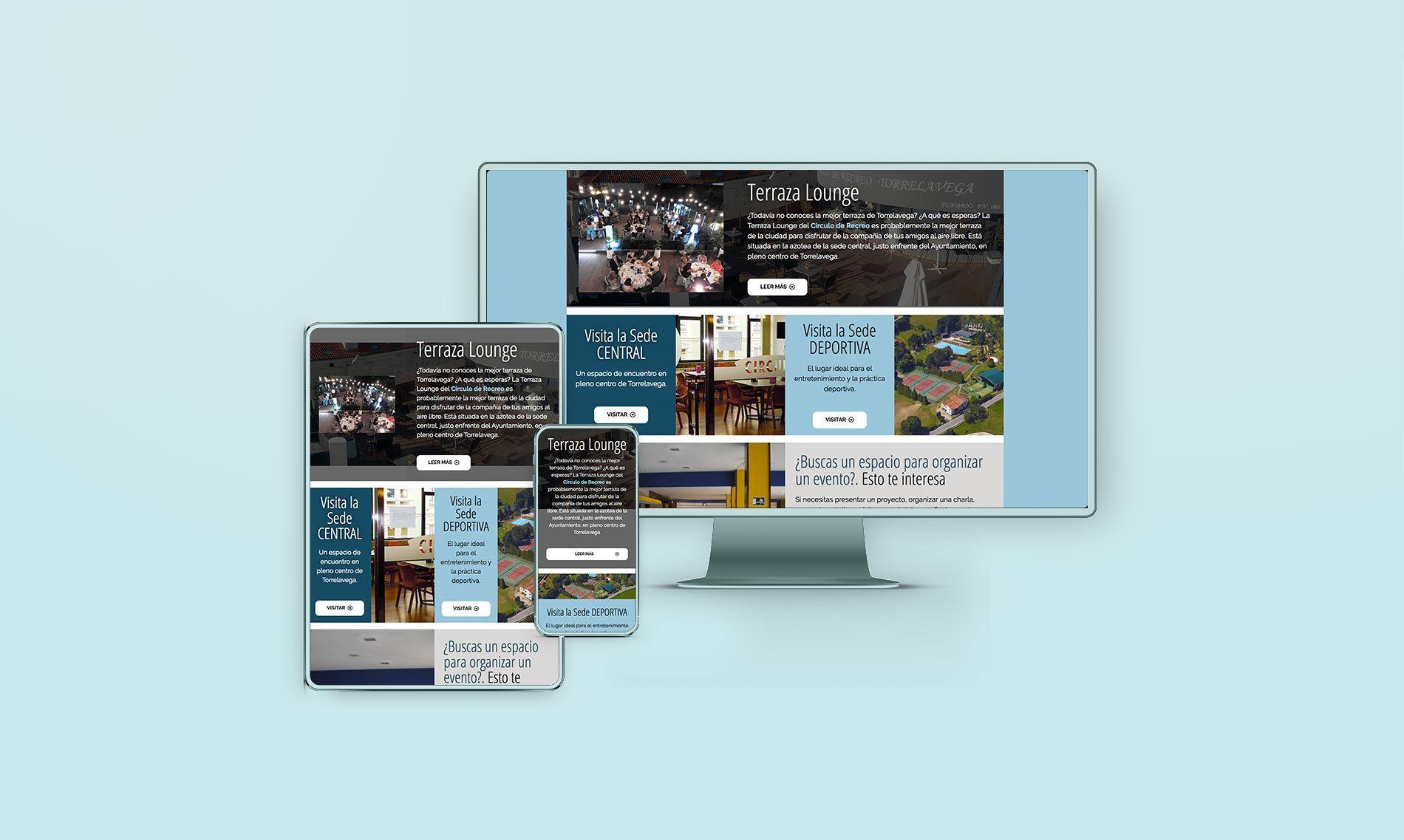 adaptación a móviles de la página web del circulo de recreo de Torrelavega
