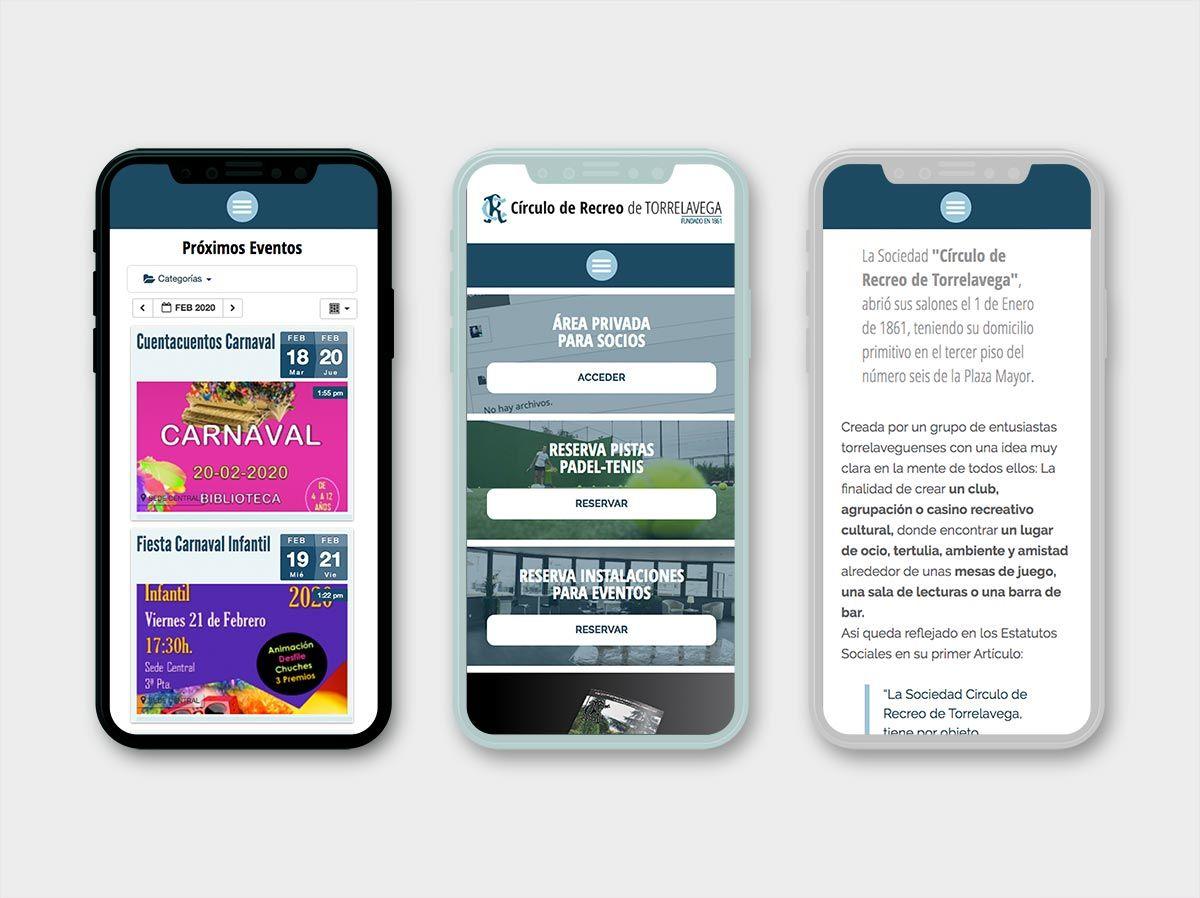 página web del Casino de Torrelavega, adaptación a móviles